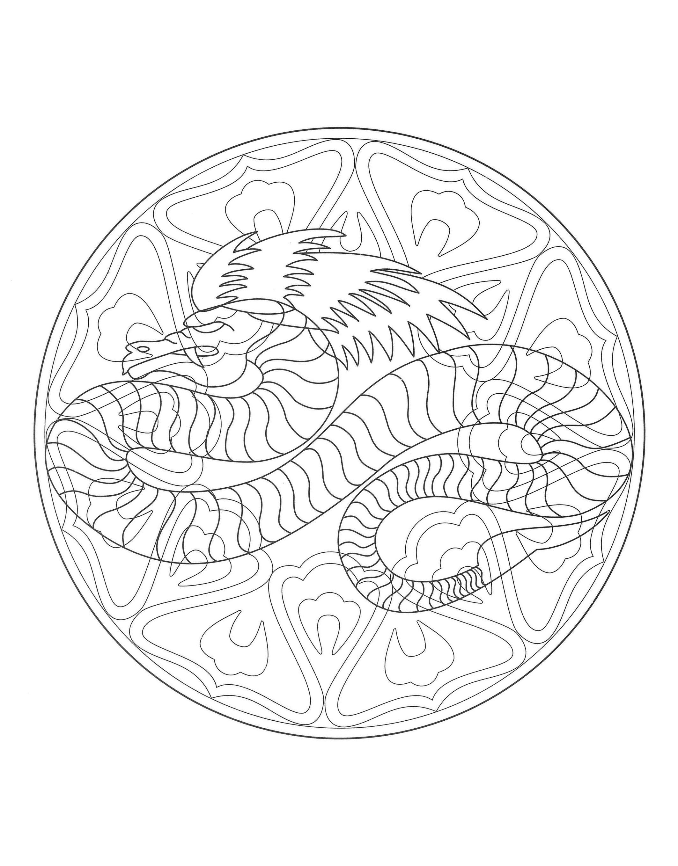 Coloriage Anti Stress Danse.Mandala Dragon 4 Mandalas Sur Le Theme Des Animaux 100