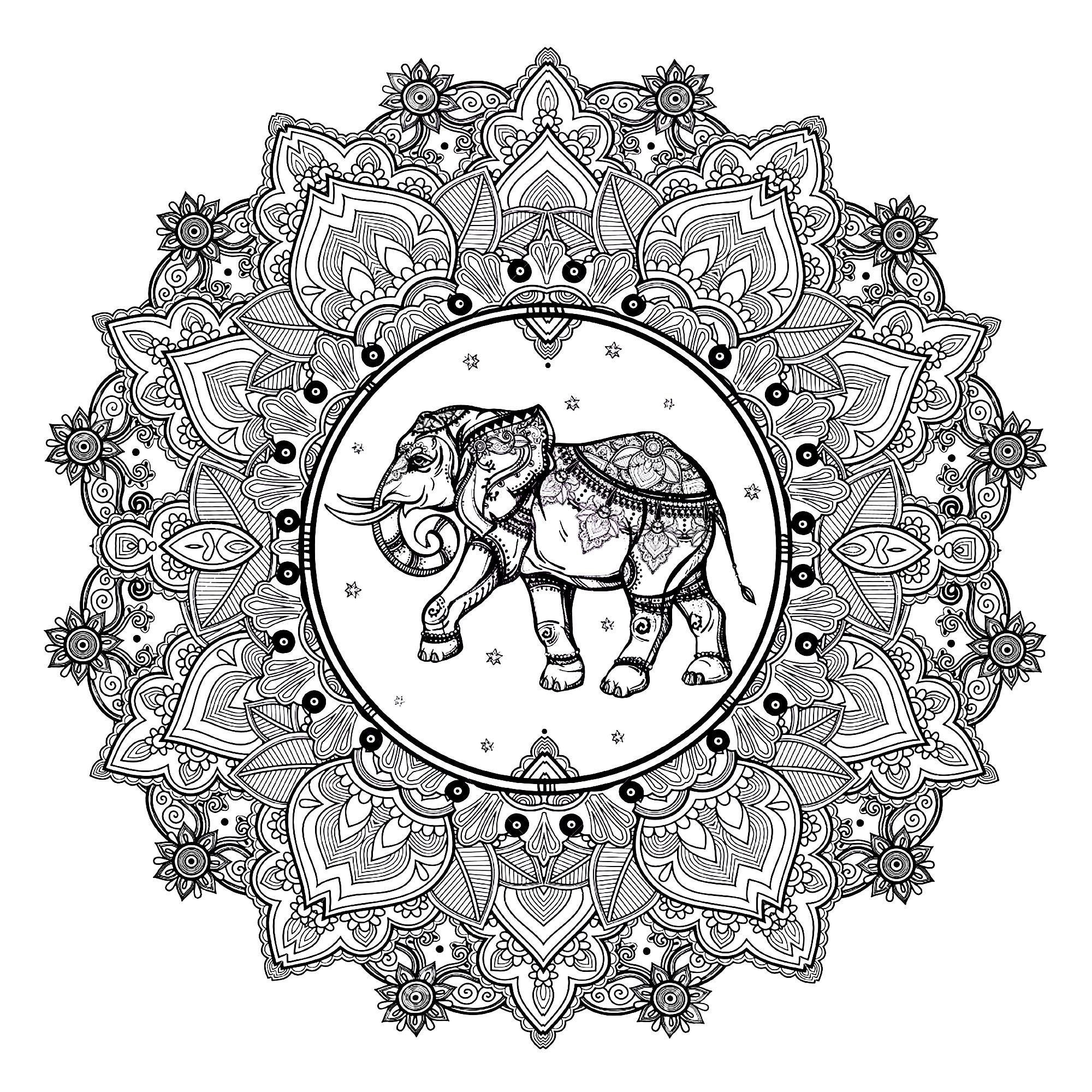 Coloriage De Mandala Danimaux.Mandala Elephant Complexe Mandalas Sur Le Theme Des Animaux 100