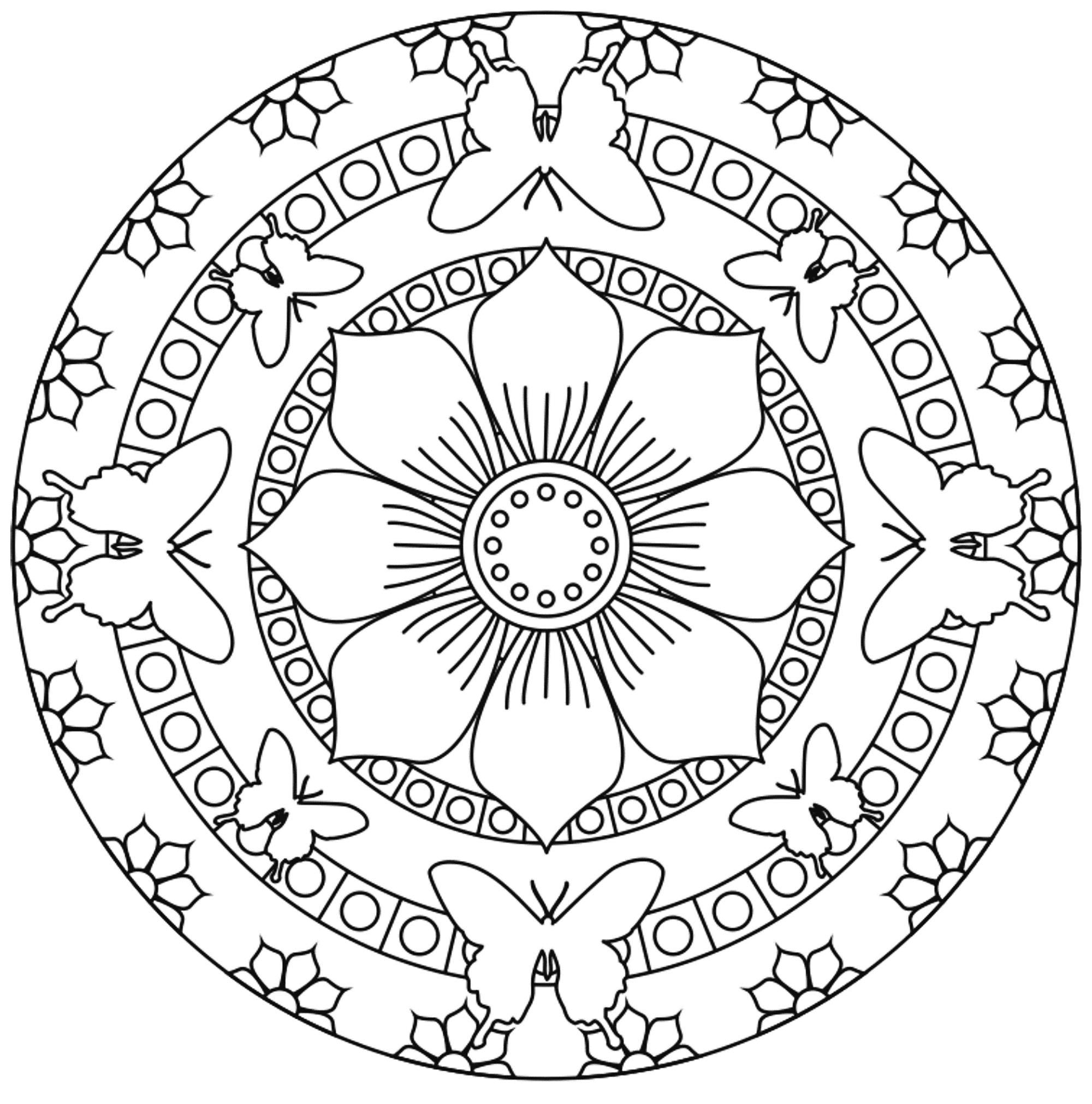 Coloriage Fleur Zen.Mandala Papillons Facile Mandalas Sur Le Theme Des Animaux 100