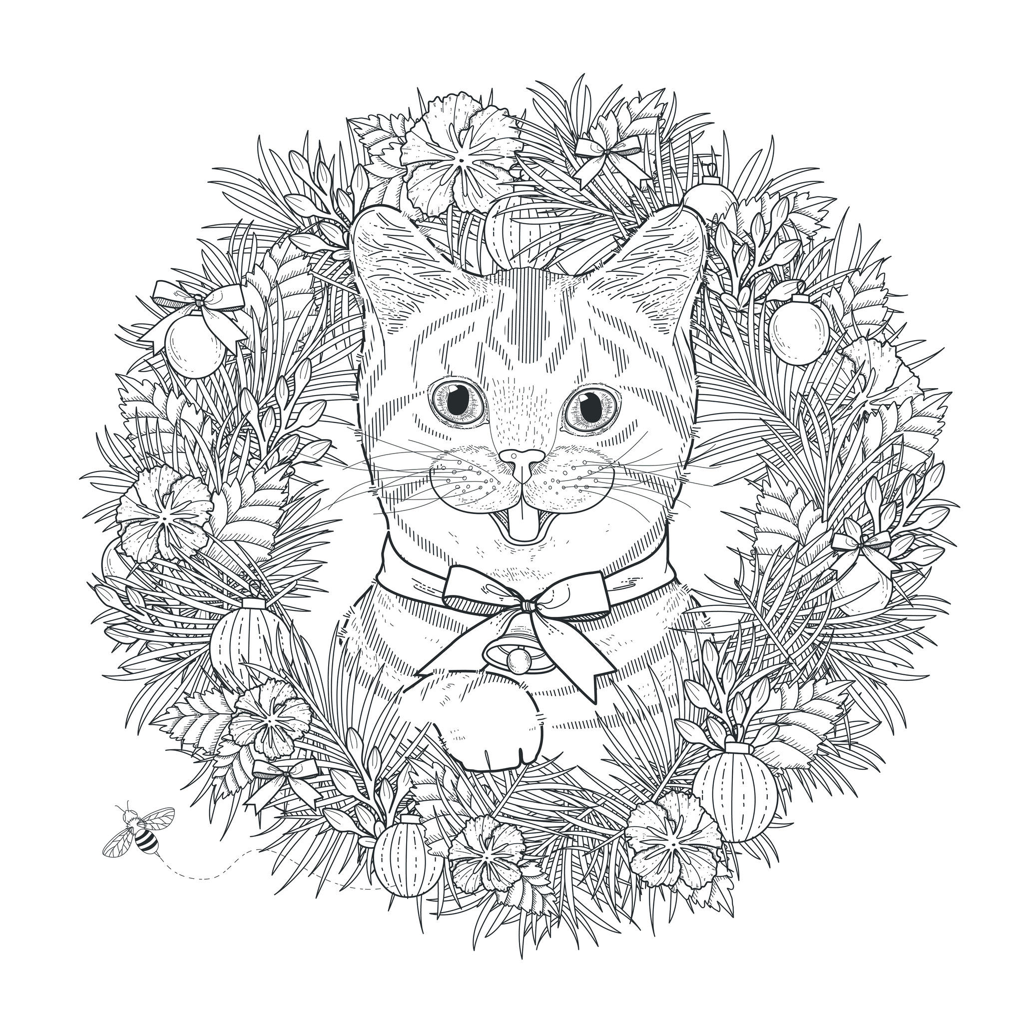 Coloriage Une Vie De Chat.Mandala Tete De Chat Mandalas Sur Le Theme Des Animaux 100