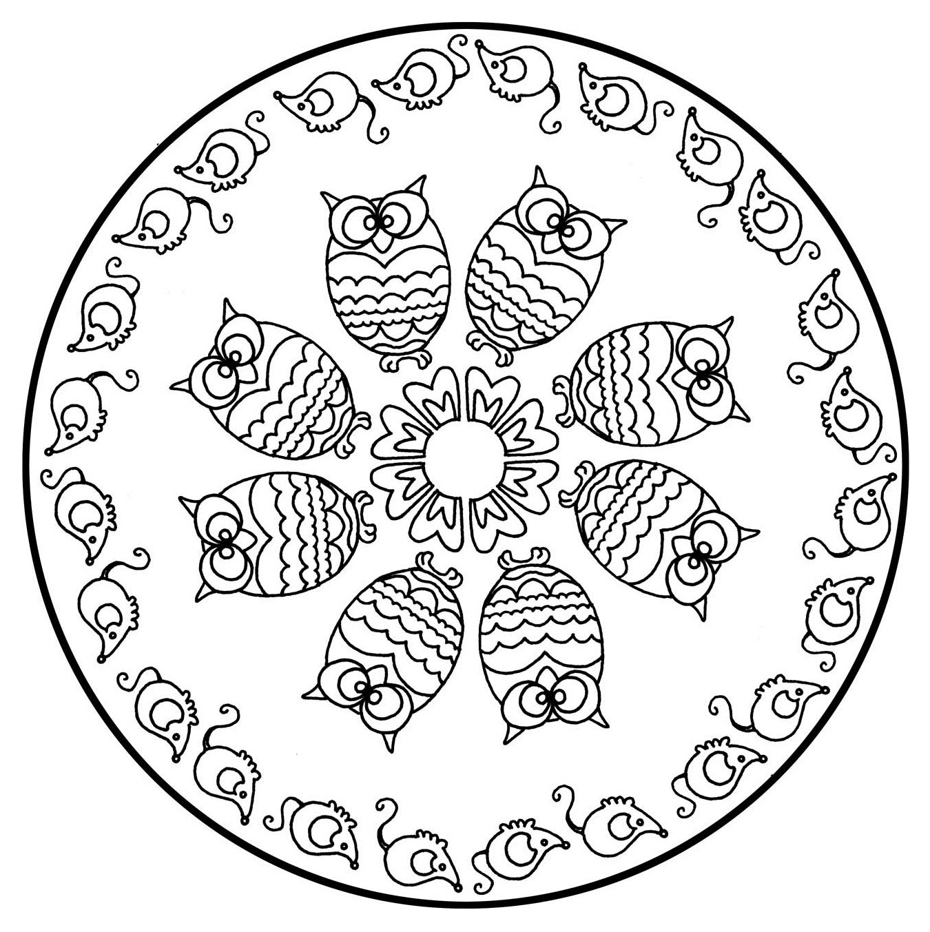 Mandala a colorier animaux gratuit hiboux Imprimer