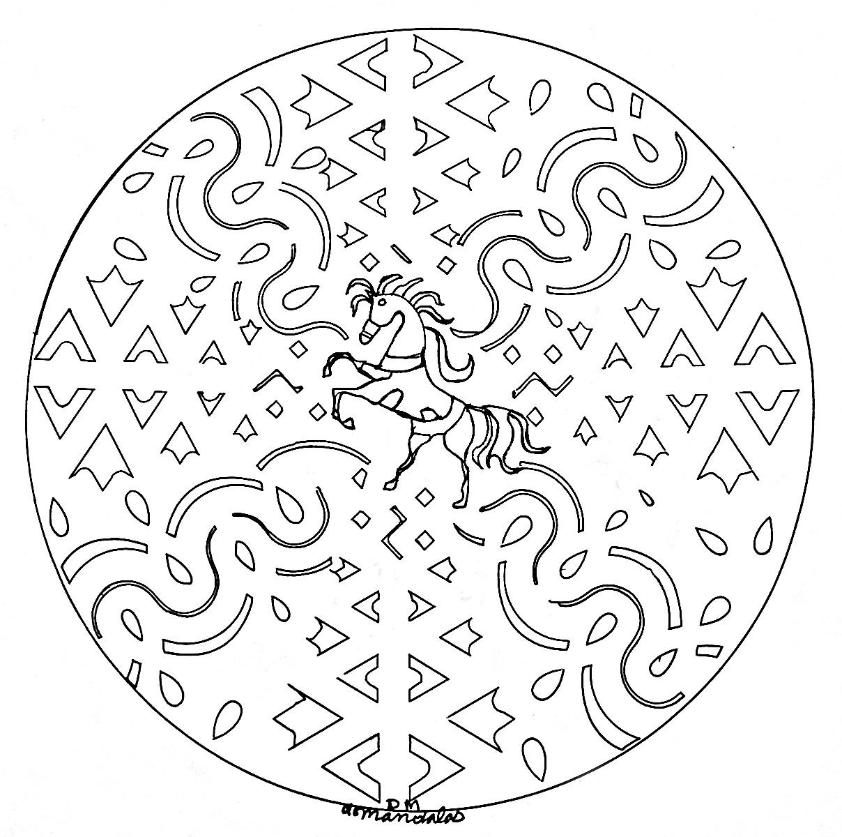 Coloriage Cheval Zen.Mandala Cheval Mandalas Sur Le Theme Des Animaux 100