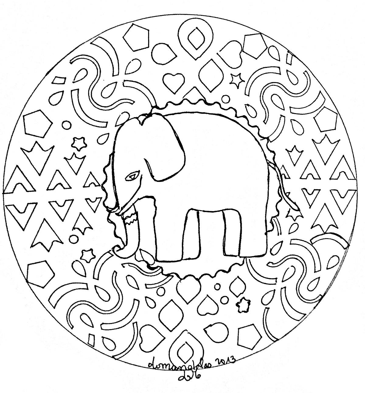 Coloriage A Imprimer Difficile Elephant.Mandala Elephant Mandalas Sur Le Theme Des Animaux 100 Mandalas