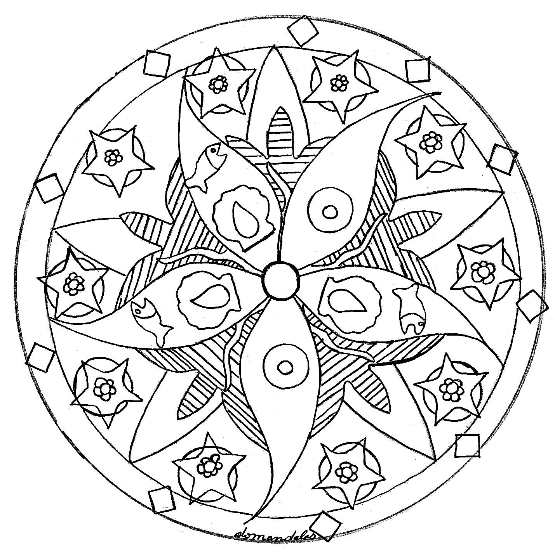 Mandala étoile de mer   Mandalas sur le thème des Animaux   32 ...