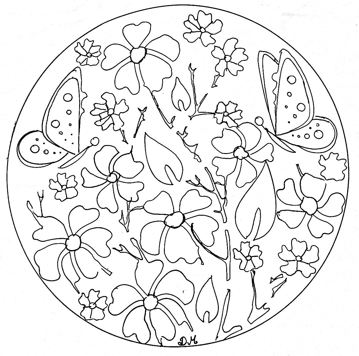 Papillon 100 mandalas zen anti stress - Coloriage fleurs et plantes a imprimer ...
