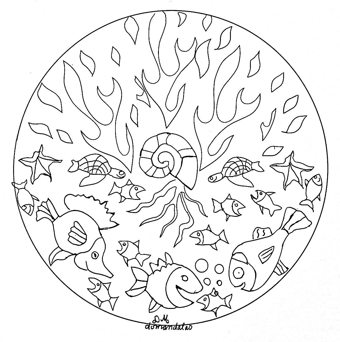 Coloriage Mandala Facile A Imprimer.Mandala Facile Des Fonds Marins Mandalas Sur Le Theme Des Animaux