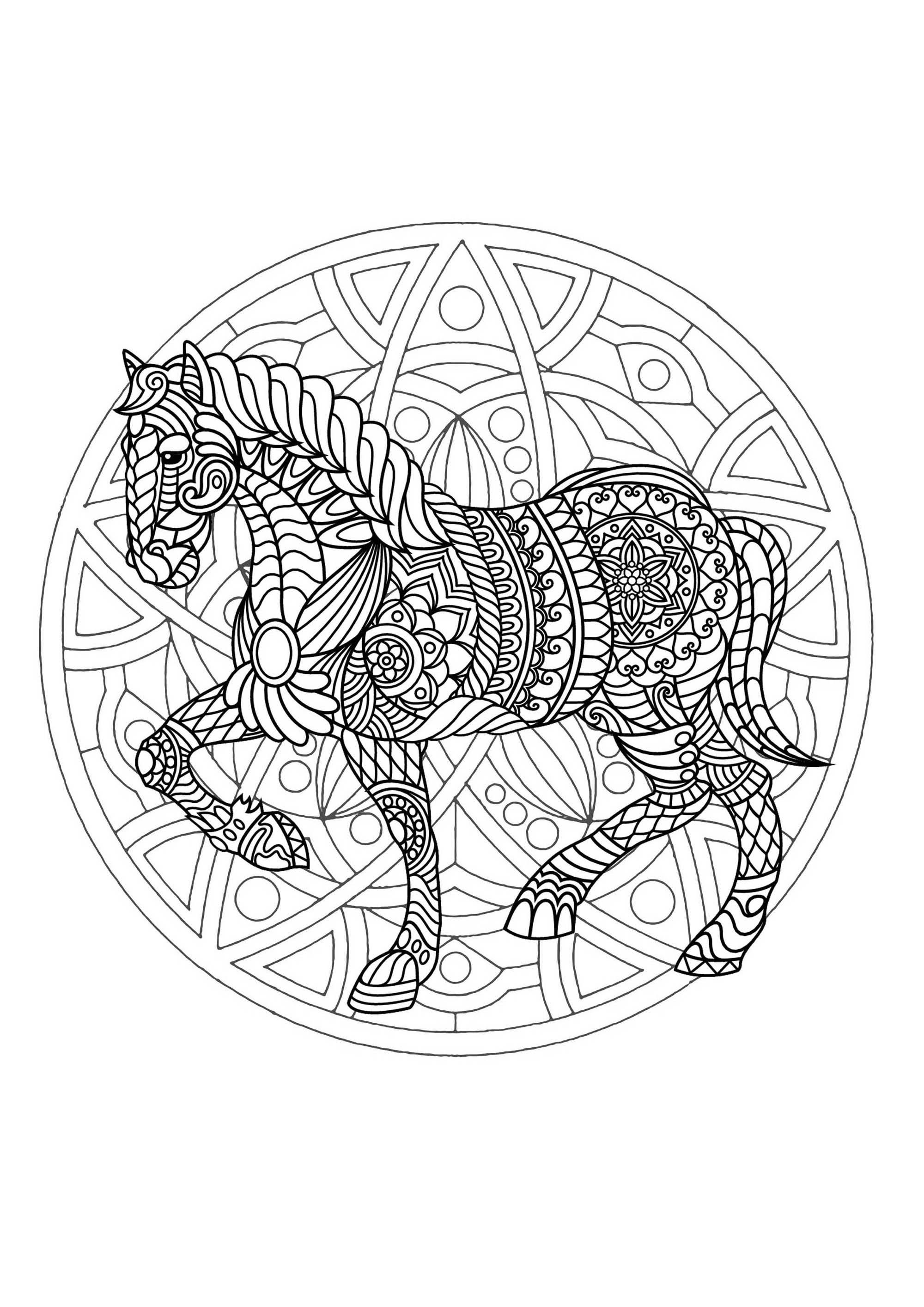 Mandala cheval 1 mandalas sur le th me des animaux 100 - Animaux mandala ...