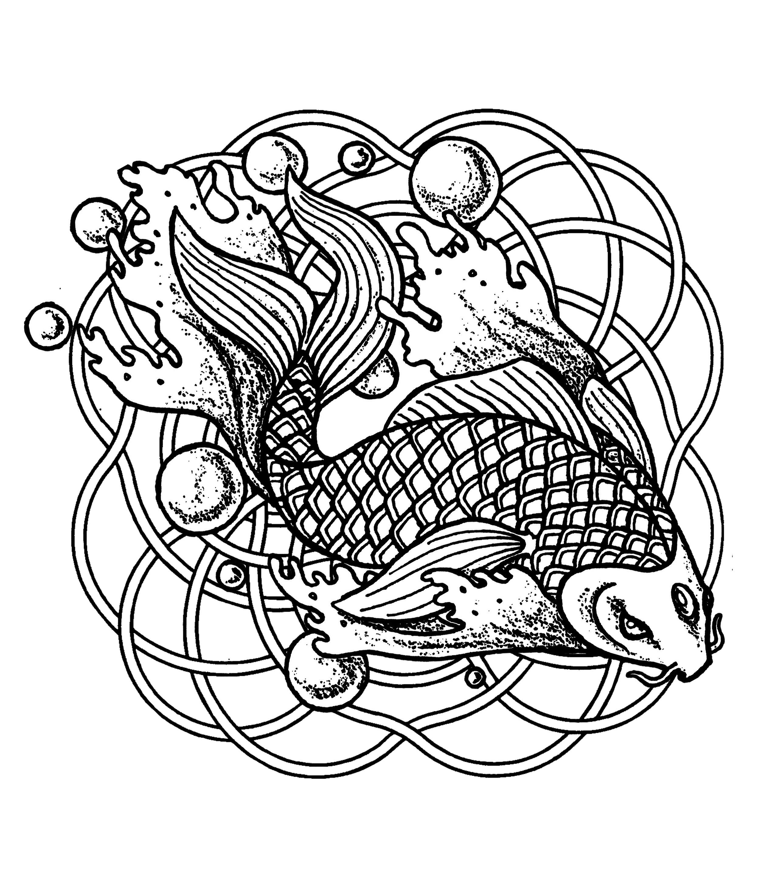 Coloriage Facile Poisson.Mandala Poisson Et Bulles Mandalas Sur Le Theme Des