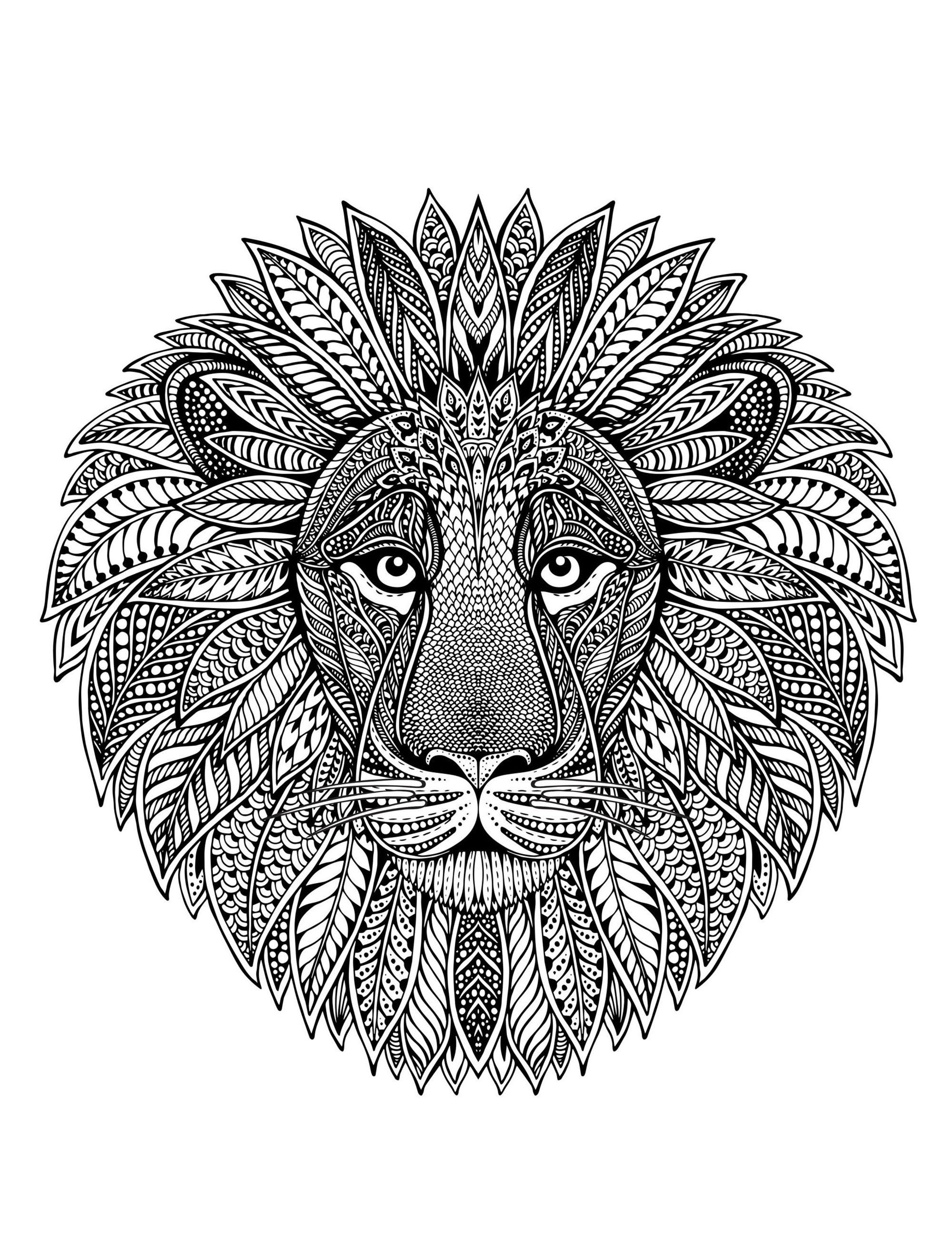 Mandala t te de lion mandalas sur le th me des animaux - Animaux mandala ...