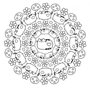 Mandala chat et pusheen