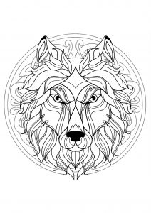Mandala tête de loup   4