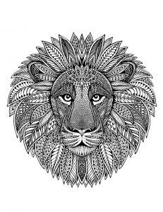 Mandala tête de lion