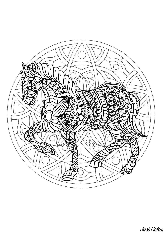 Coloriage Mandala Animaux Cheval.Mandala Cheval 1 Mandalas Sur Le Theme Des Animaux 100 Mandalas