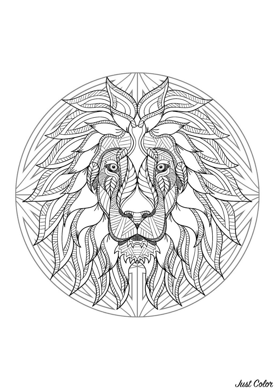 Mandala Tête De Lion 4 Mandalas Sur Le Thème Des Animaux