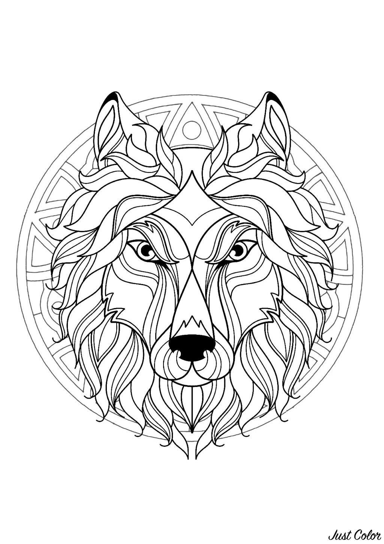 Coloriage De Mandala Danimaux.Mandala Tete De Loup 3 Mandalas Sur Le Theme Des Animaux 100