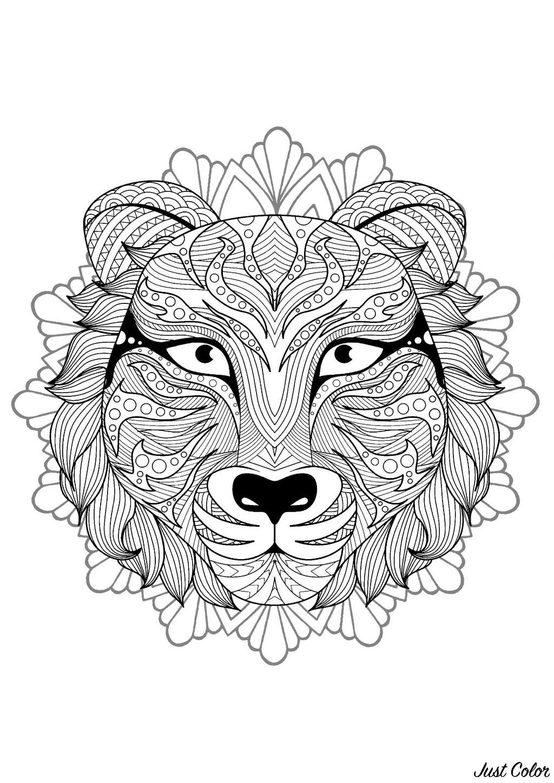 Coloriage De Mandala Danimaux.Mandala Tete De Tigre 4 Mandalas Sur Le Theme Des Animaux 100