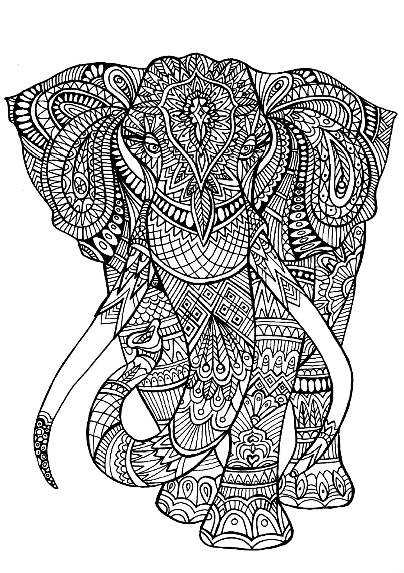 Elephant coloriages d 39 animaux 100 mandalas zen anti - Elephant en dessin ...