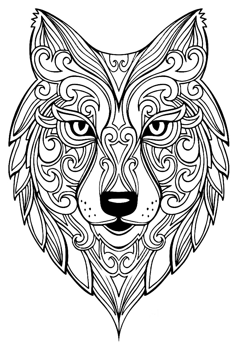 Grand loup coloriages d 39 animaux 100 mandalas zen - Grand dessin a colorier ...