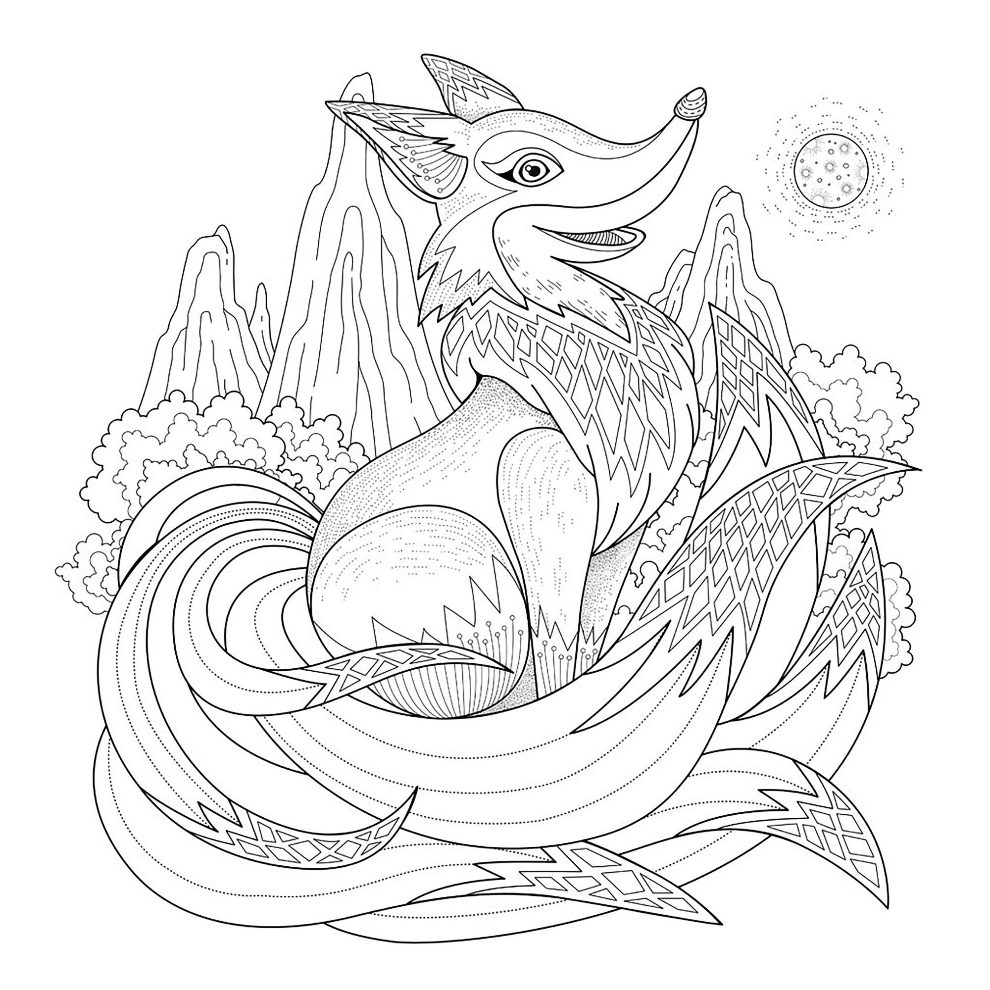 Coloriage adulte renard - Coloriage renard a imprimer gratuit ...