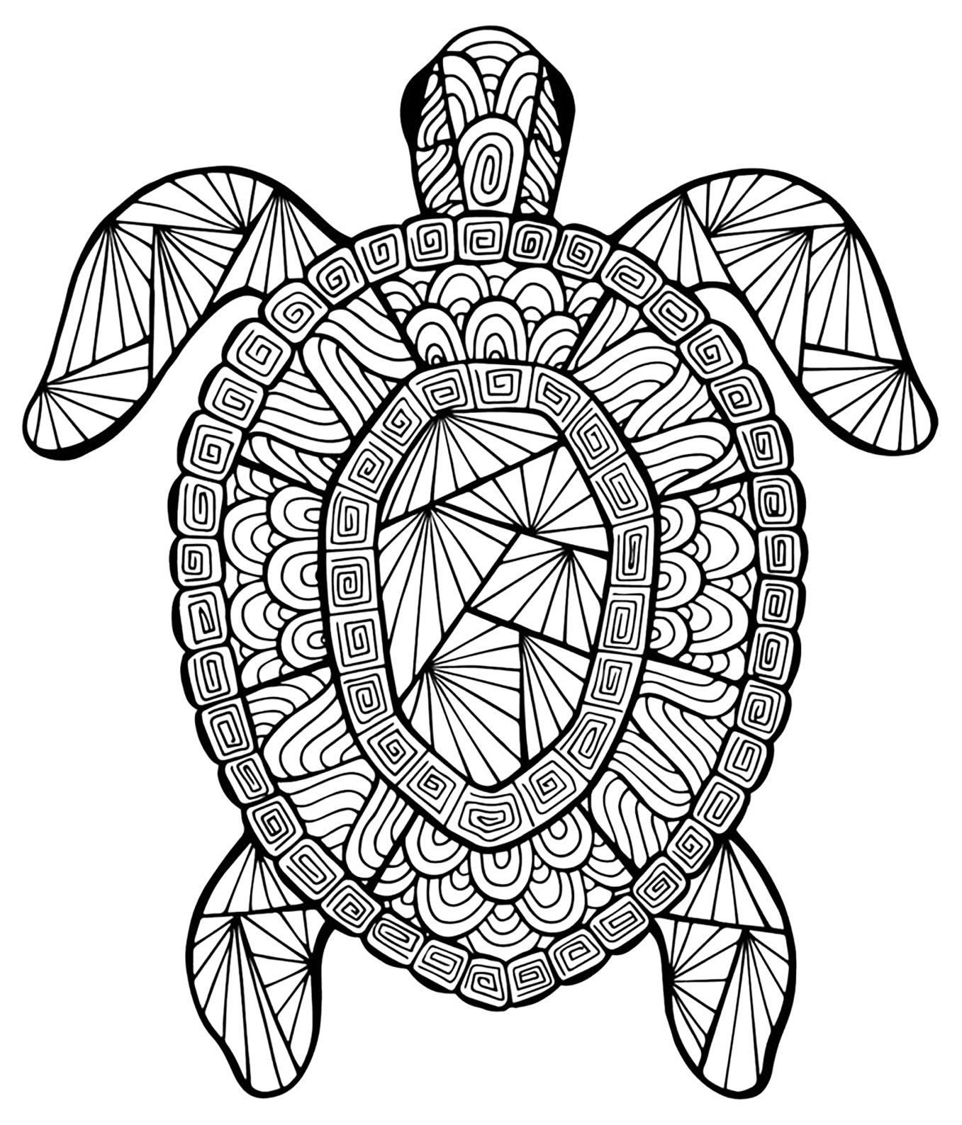 Coloriage Mandala Animaux Tortue.Tortue Coloriages D Animaux 100 Mandalas Zen Anti Stress