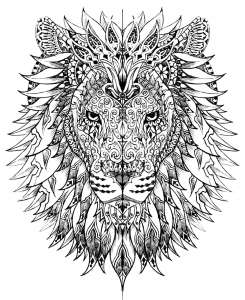 Coloriage tete lion