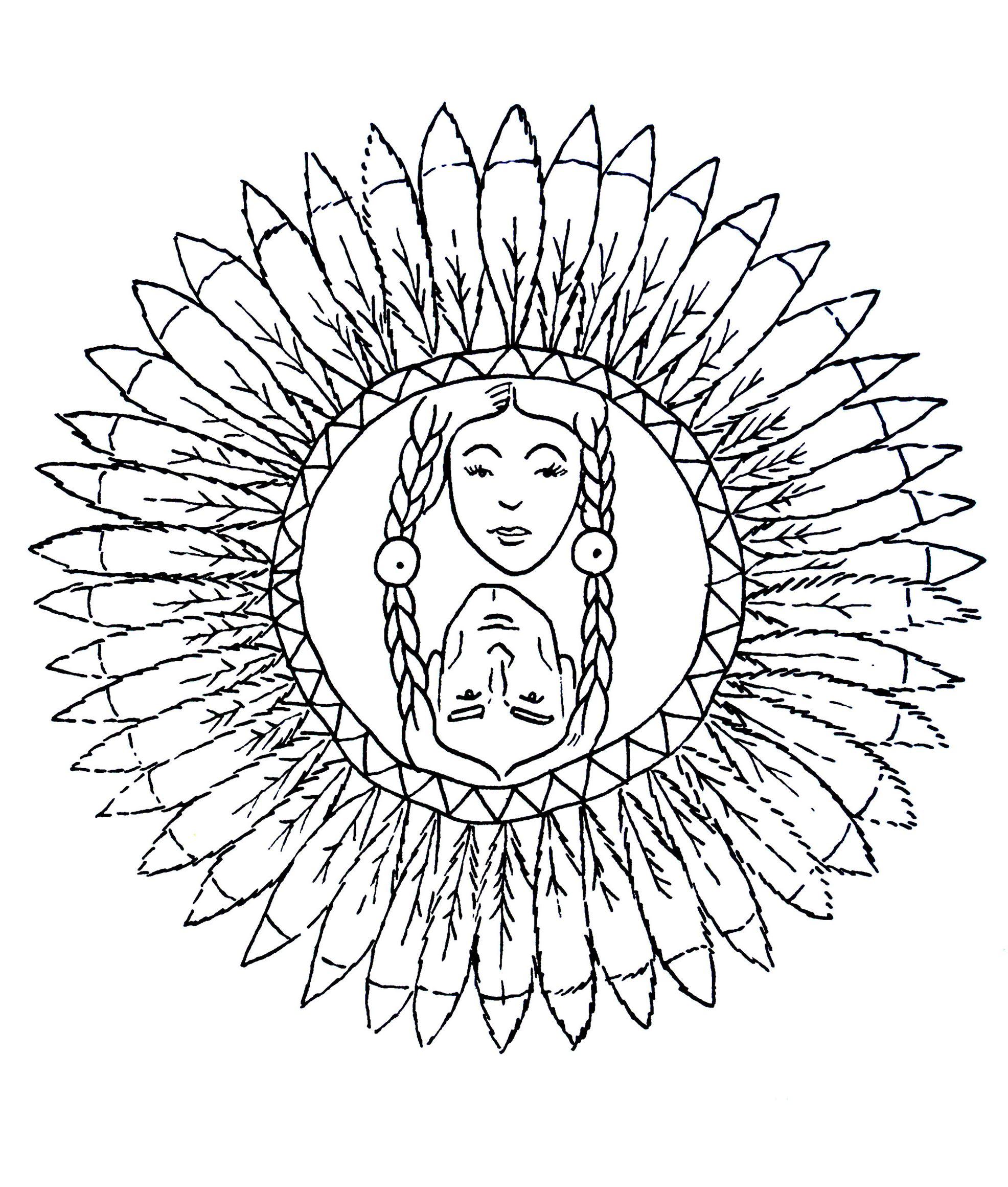 Coloriage Anti Stress Indien.Mandala A Colorier Personnages Indiens Mandalas Avec