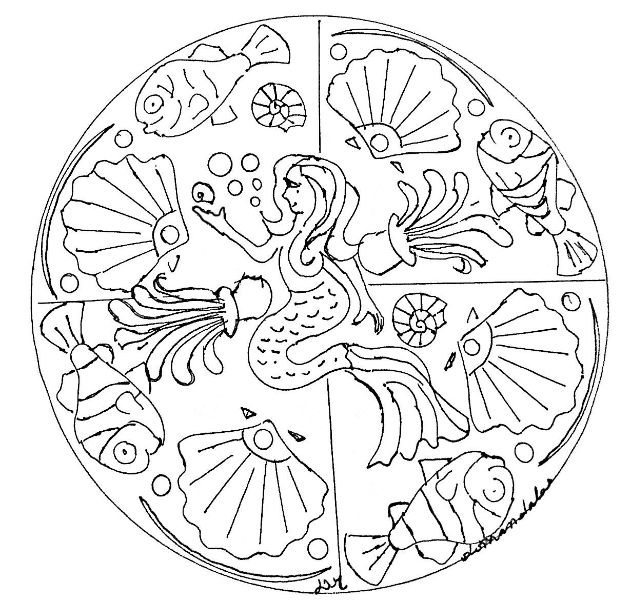 Mandala a imprimer sirene mandalas avec personnages - Imprimer coloriage mandala ...