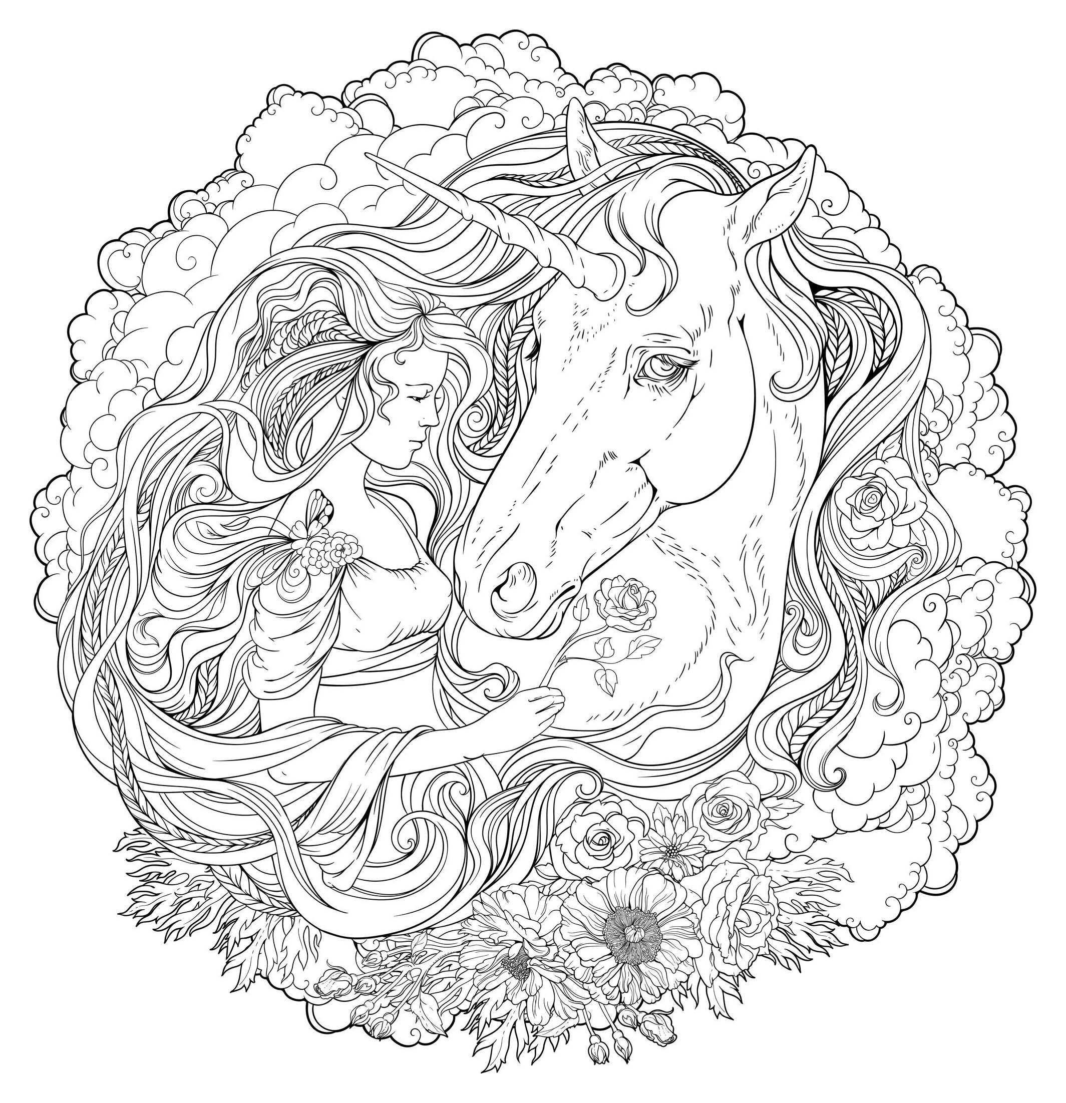 Mandala Fille Et Licorne Mandalas Avec Personnages 100 Mandalas Zen Anti Stress