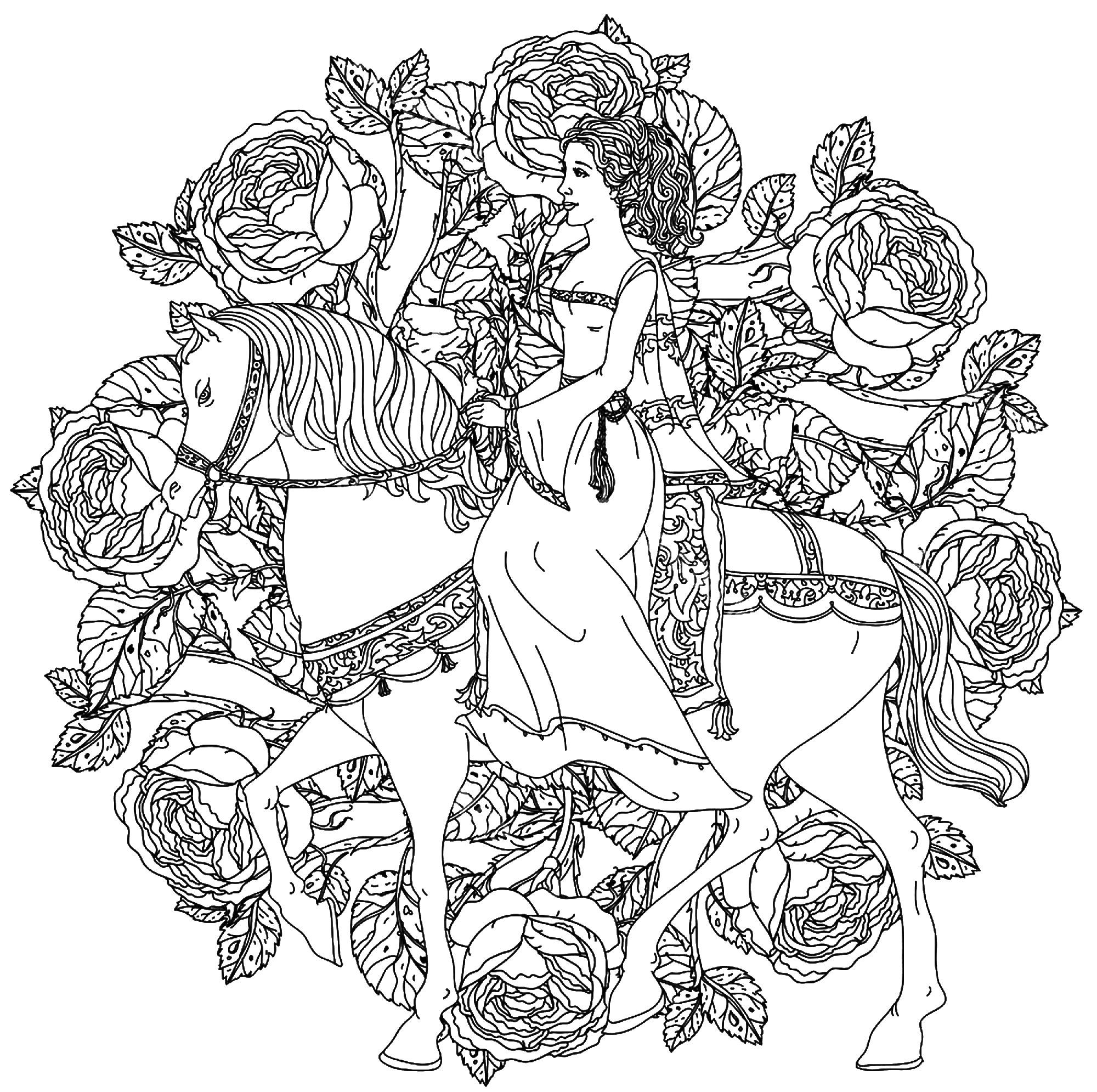 Coloriage Difficile Princesse.Mandala Princesse Chevauchant Son Cheval Mandalas Avec Personnages