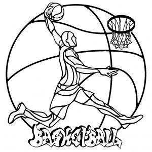 Joueur de Basketball avec ballon en fond