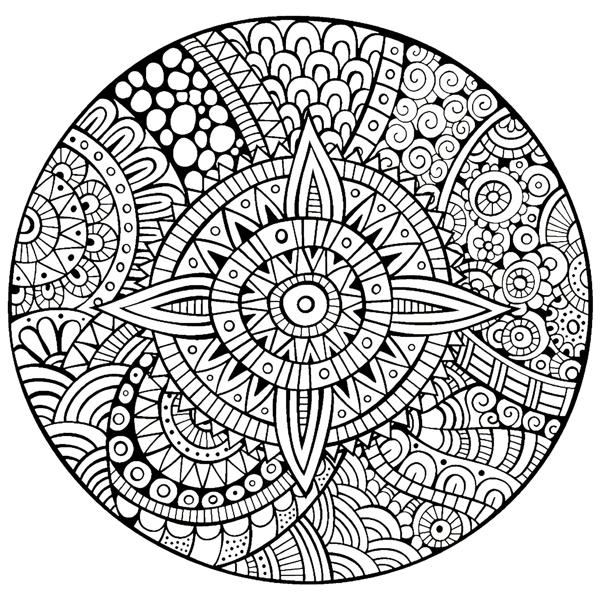 Mandala étoile Lignes épaisses Mandalas Difficiles Pour