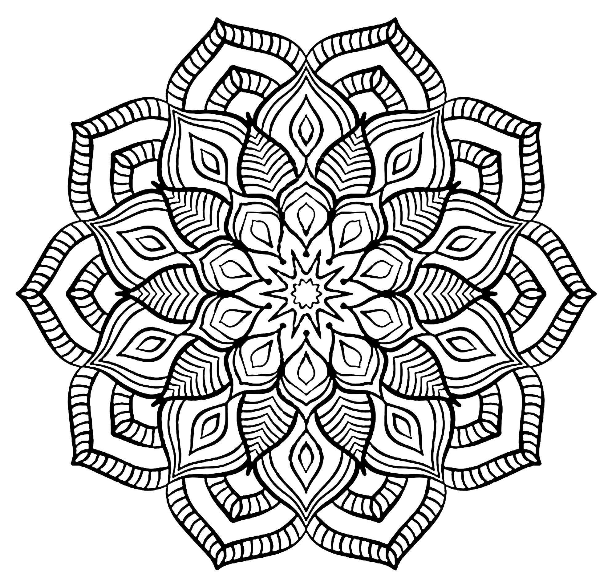 Coloriage Mandala Difficile Fleur.Mandala Grosse Fleur Mandalas Difficiles Pour Adultes 100