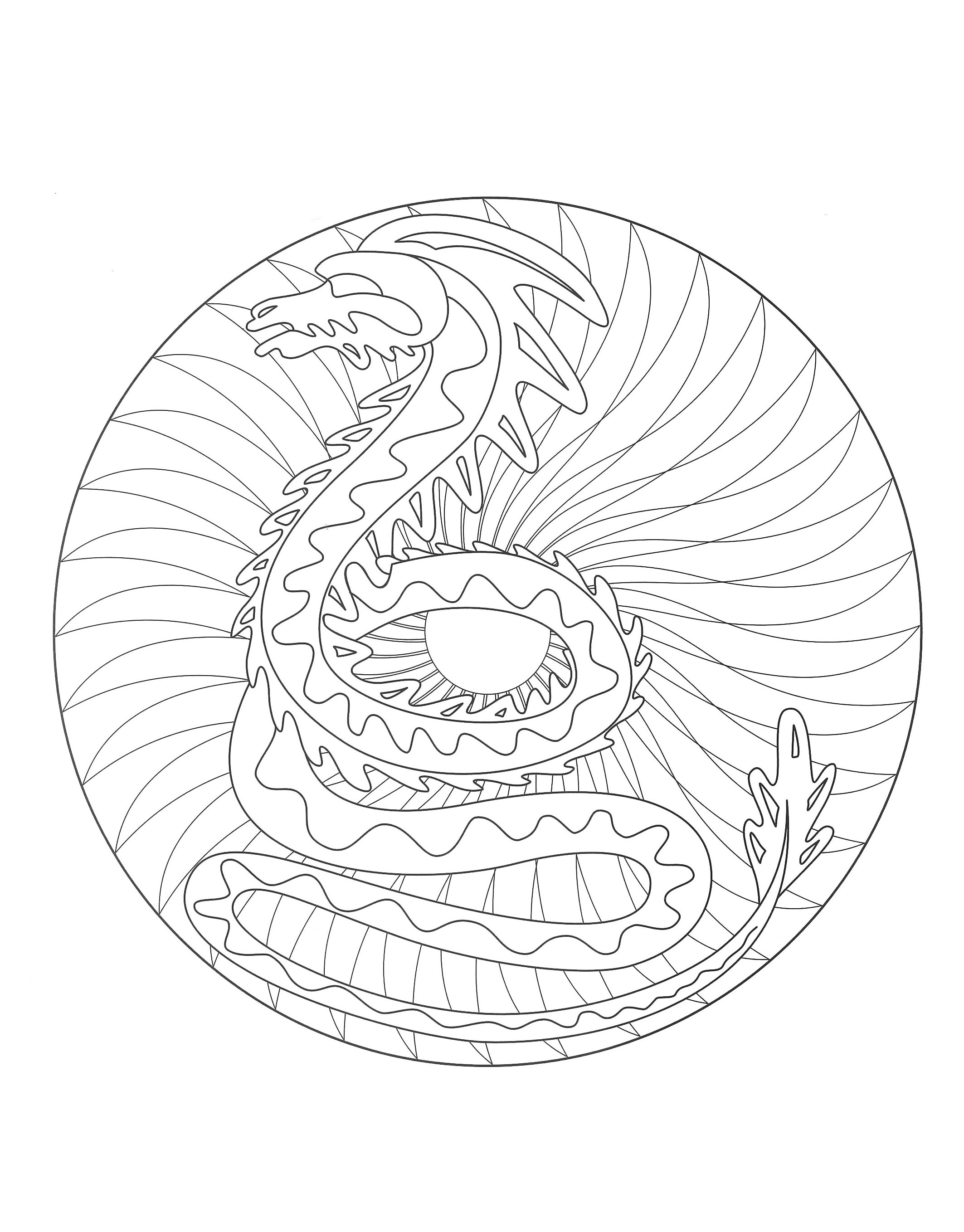 Coloriage anti stress dragon - Mandala gratuit ...