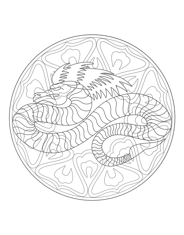Gratuit mandala dragon 4 mandalas difficiles pour - Mandala dragon ...