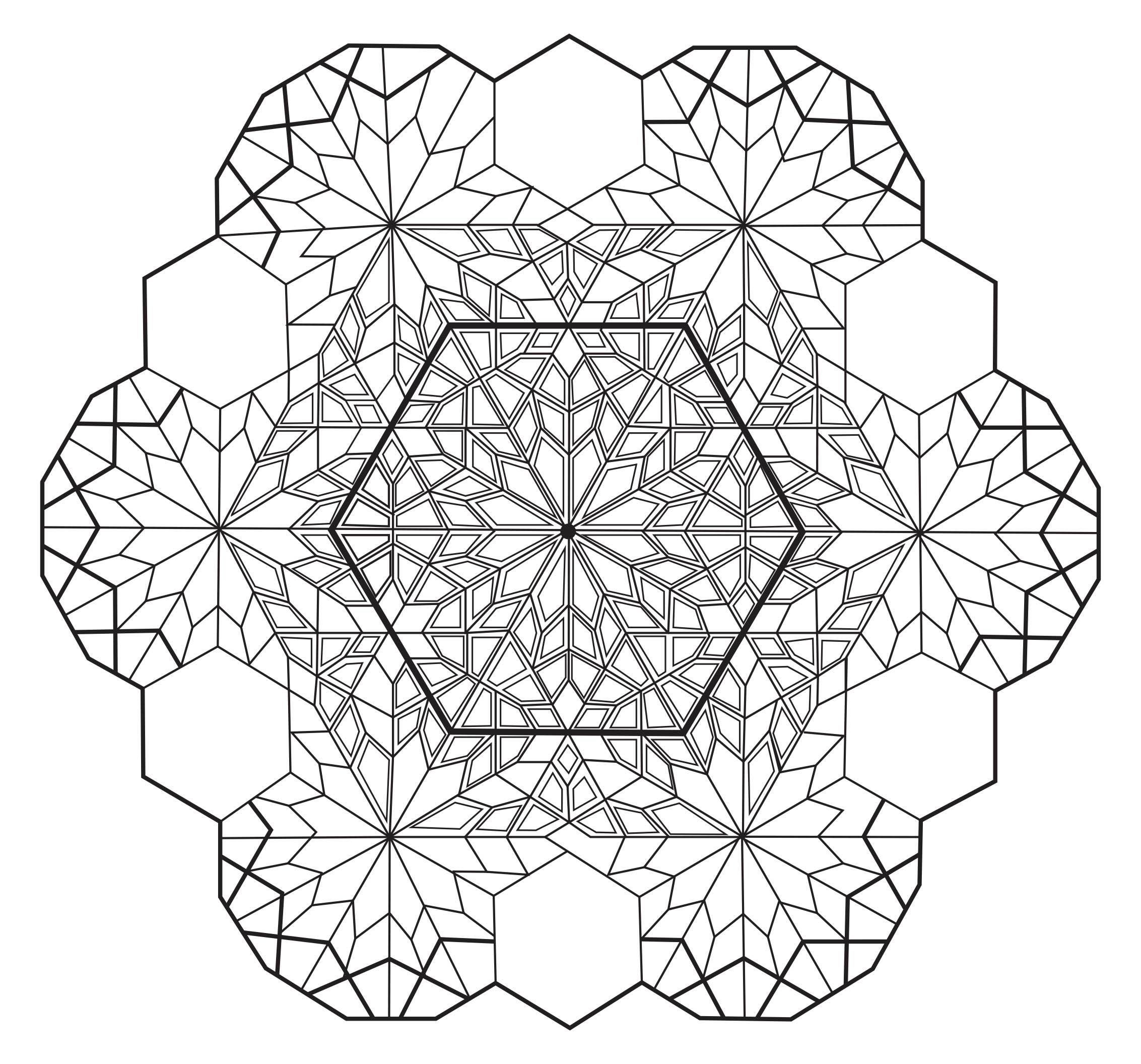 Coloriage Zen Difficile.Mandala Hexagone Mandalas Difficiles Pour Adultes 100