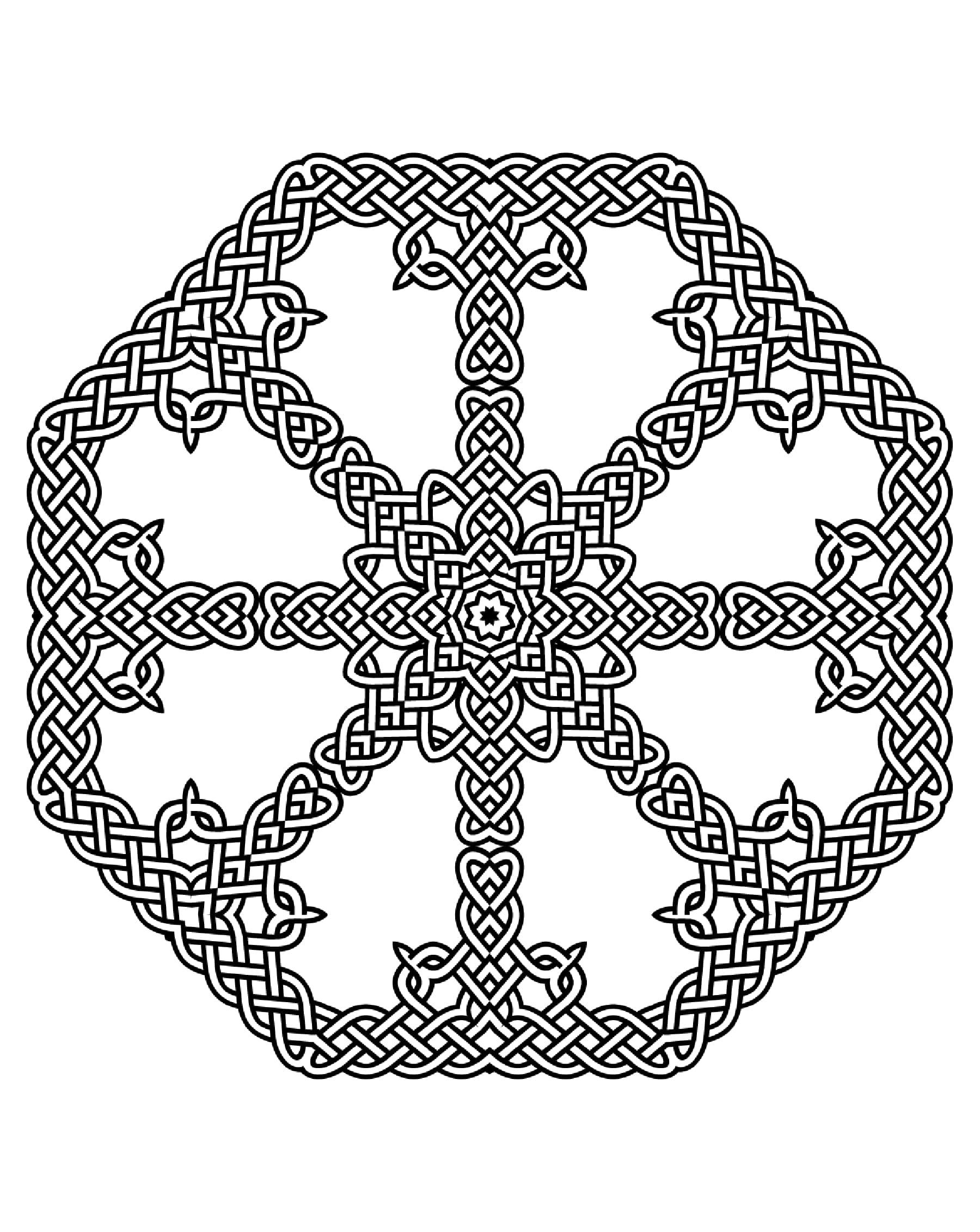 Coloriage Anti Stress Celtique.Joli Mandala Harmonieux Celtique Mandalas Difficiles Pour