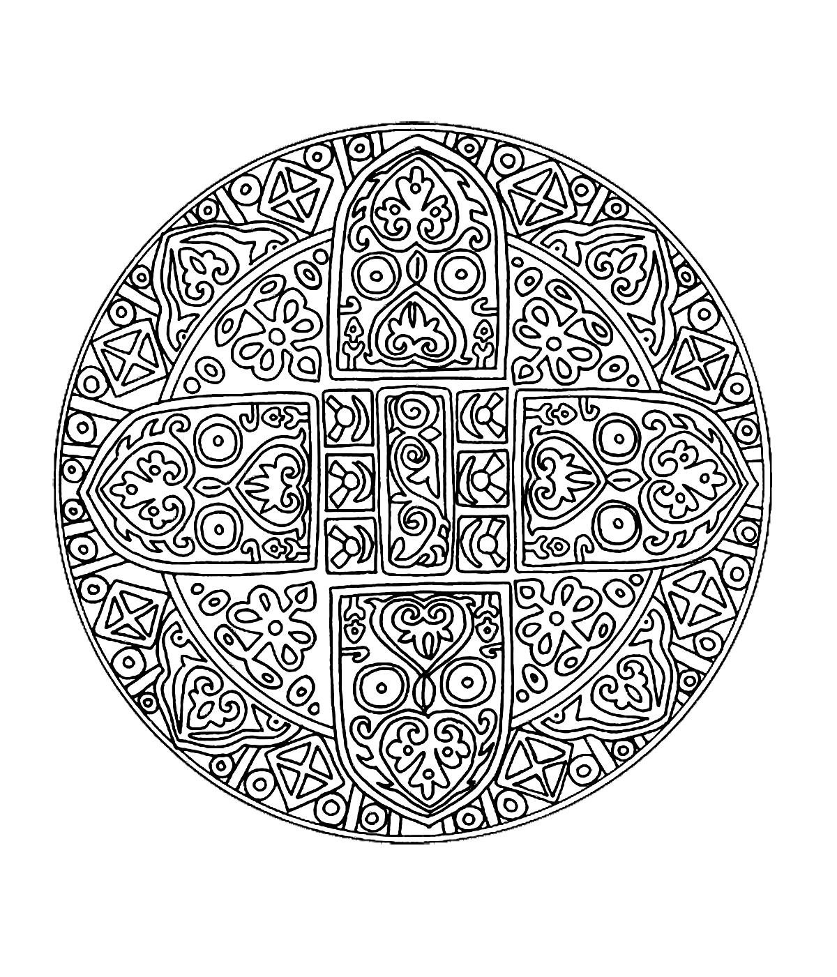 colorier adulte difficile 1 Magnifique mandala avec une succession de formes avec une tr¨s jolie fleur au centre