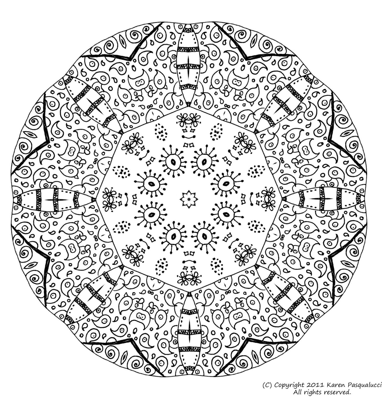 Superbe mandala symétrique et tr¨s original avec différents éléments  colorier Assez pliqué