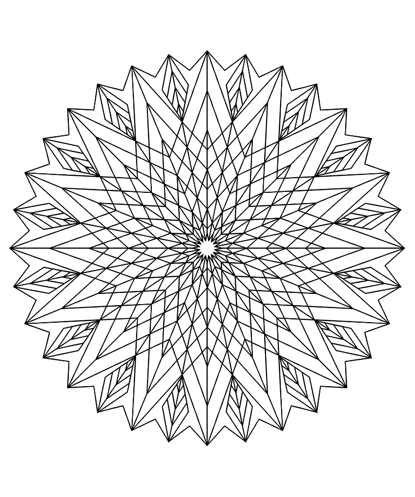 colorier adulte difficile 18 Mandala  télécharger tr¨s graphique avec une succession de forme donnant une magnifique fleur prenant l