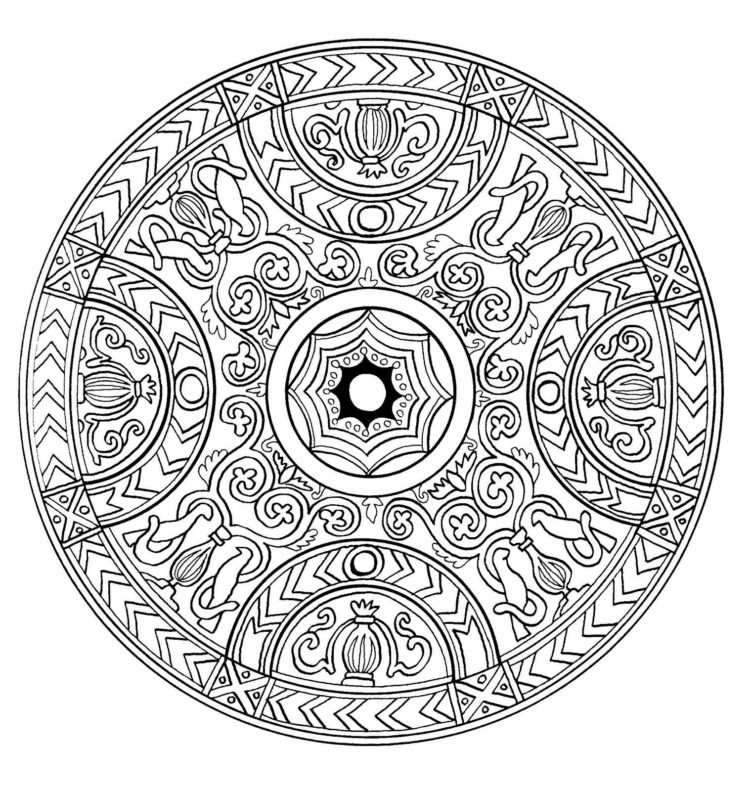 Coloriage mandala assez antique avec plusieurs détails et formes Assez pliqué  colorier
