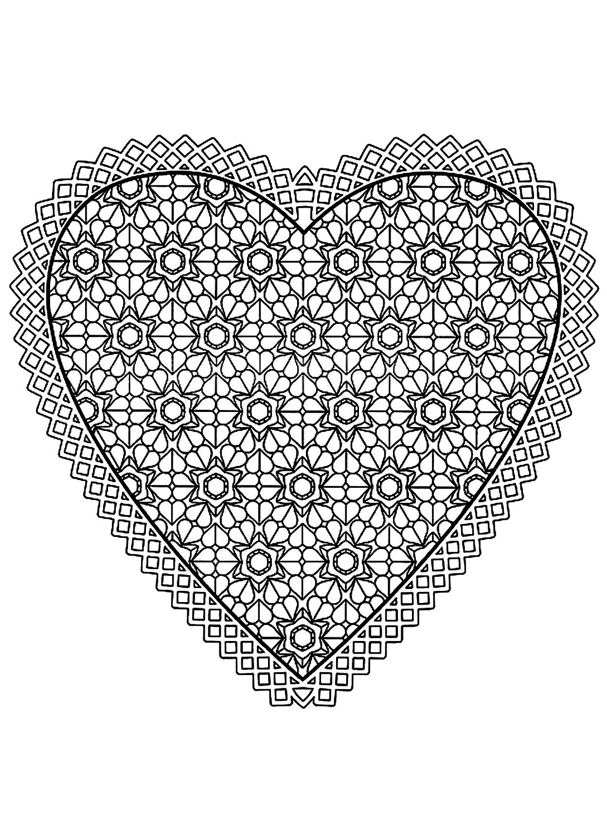 Meilleur De Dessin à Imprimer Mandala Coeur