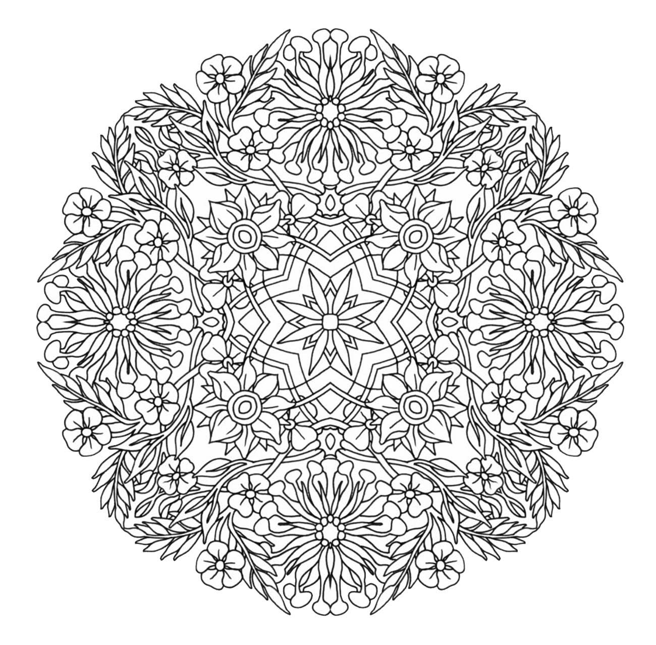 Mandala a colorier gratuit fleurs aux grands petales mandalas difficiles pour adultes 100 - Grand mandala ...