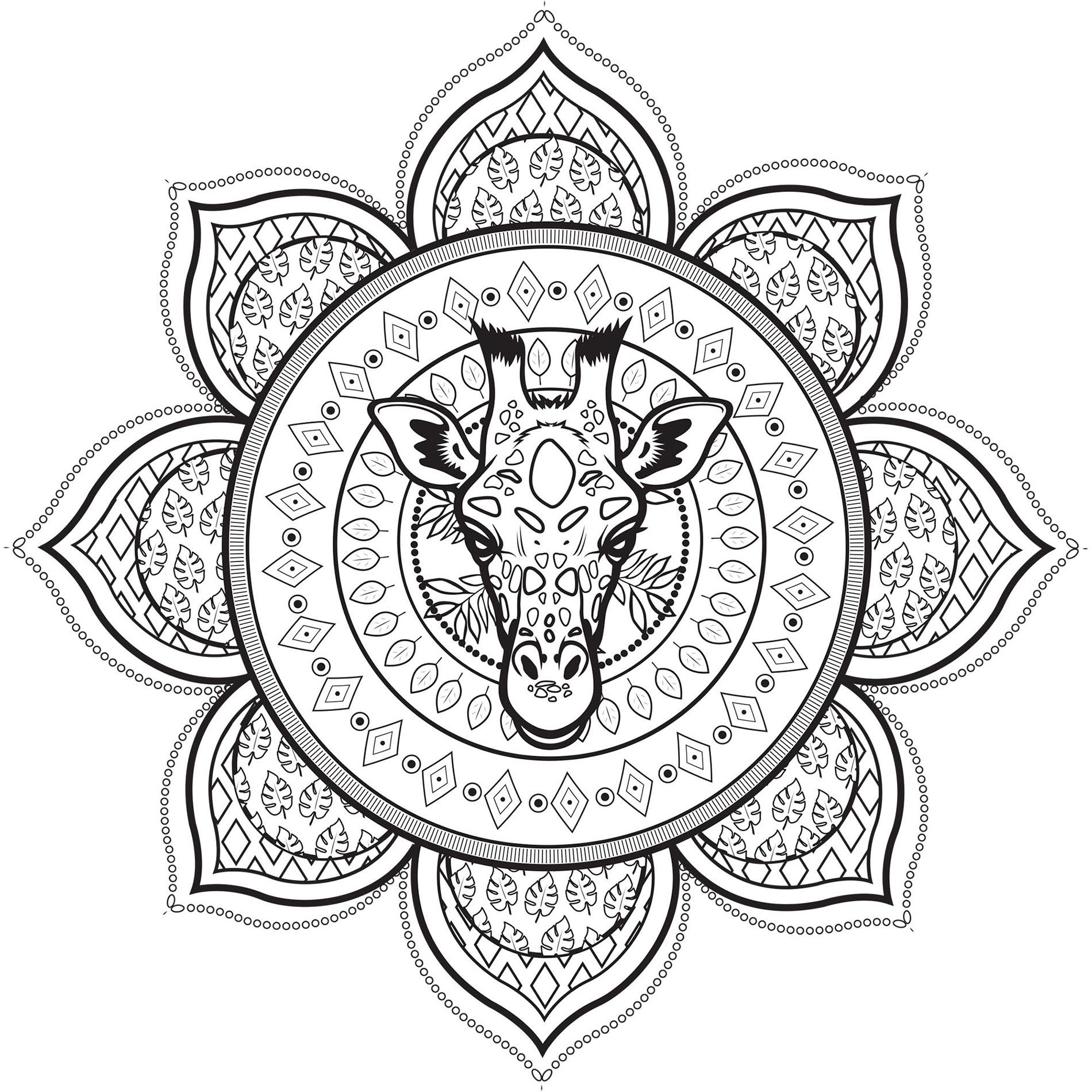 Coloriage Girafe Mandala.Mandala Complexe Avec Tete De Giraffe Mandalas Difficiles