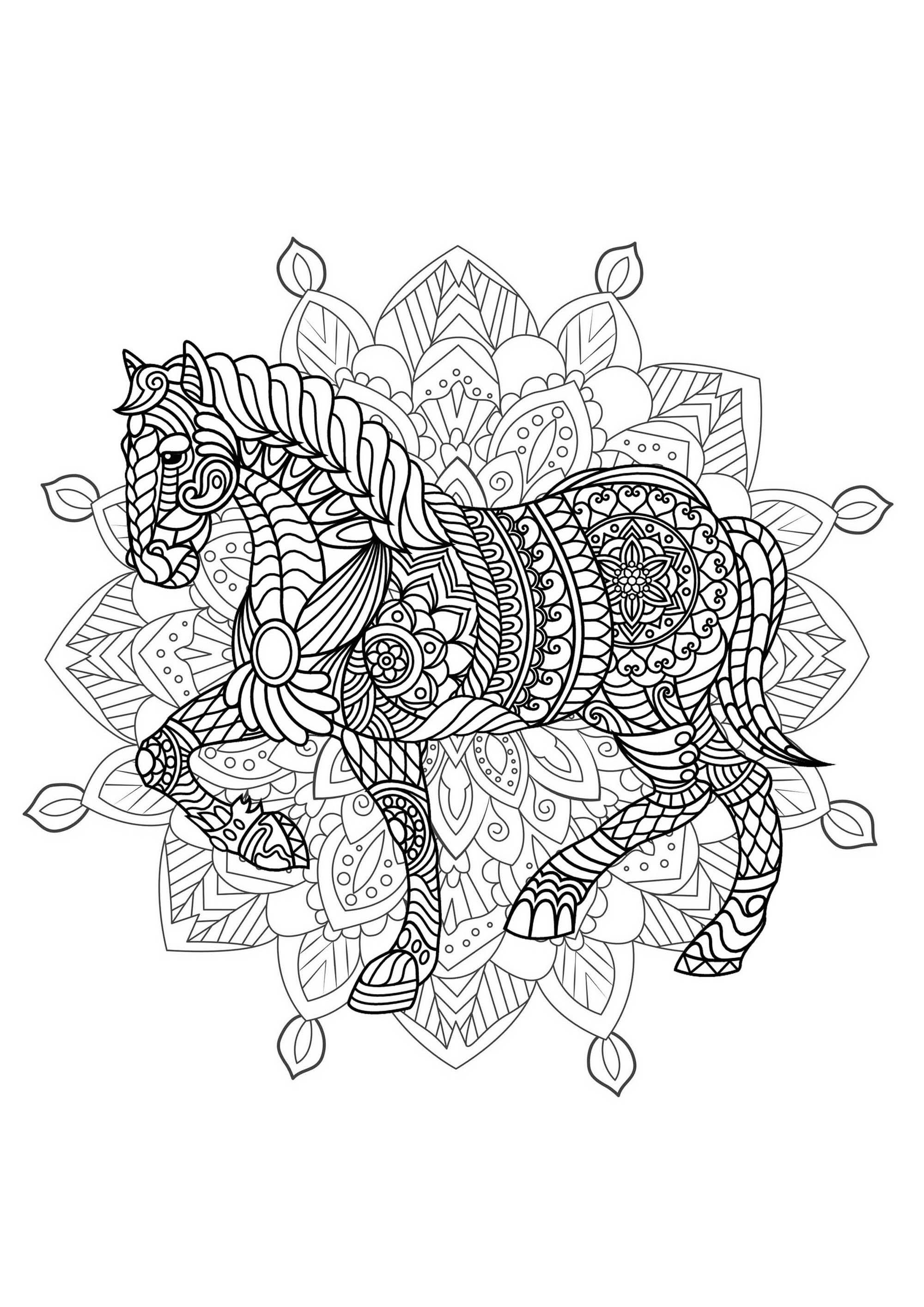 Coloriage Cheval Zen.Mandala Cheval 2 Complexe Mandalas Difficiles Pour