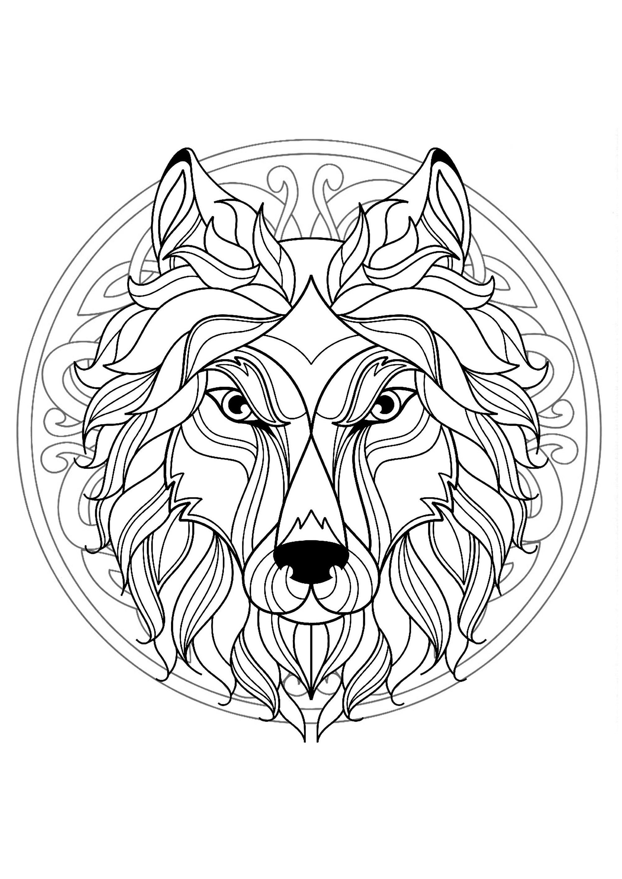 Mandala tete loup 4 mandalas difficiles pour adultes - Tete de loup dessin ...