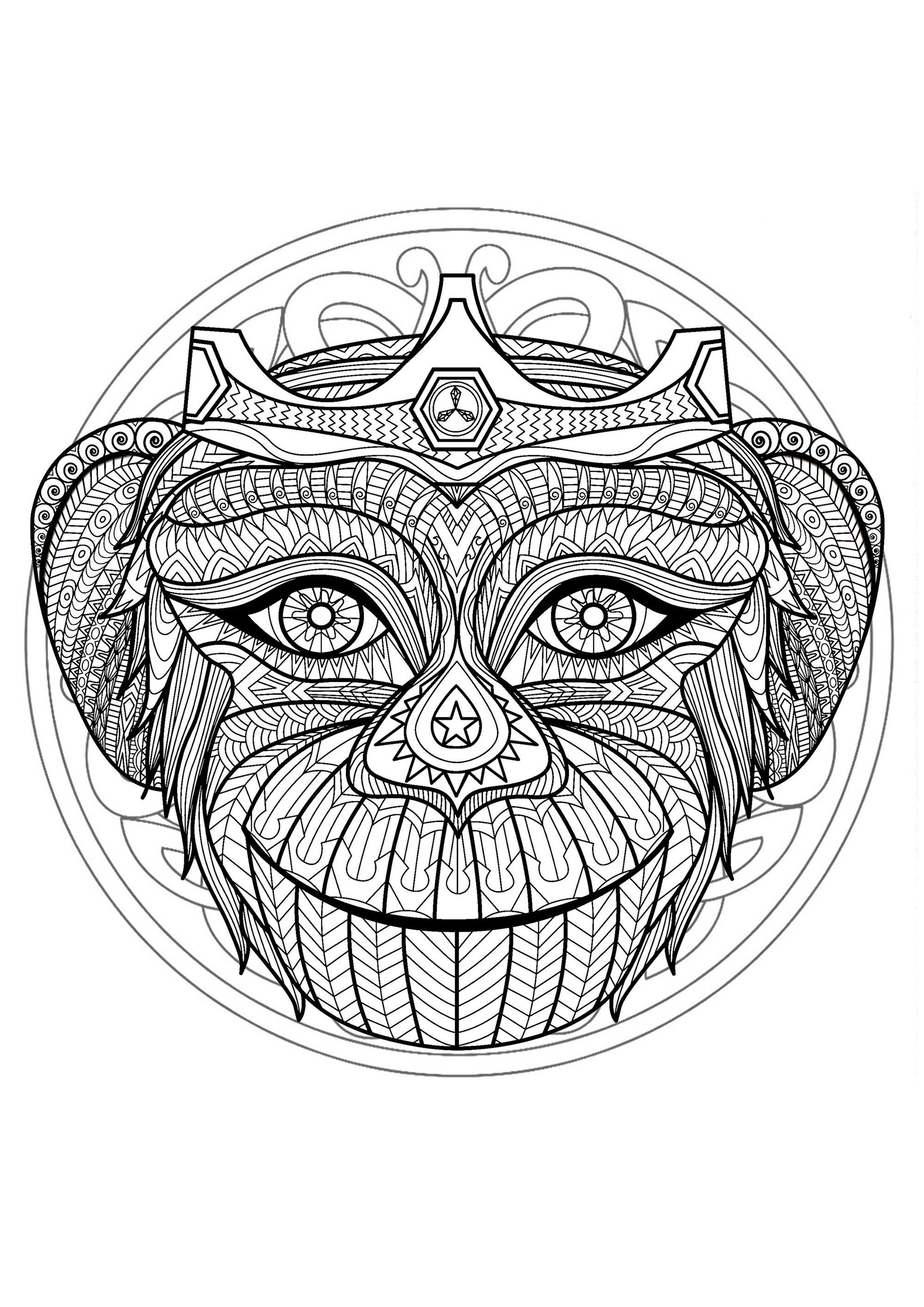 Mandala tete singe 1 mandalas difficiles pour adultes - Mandala difficile a imprimer ...