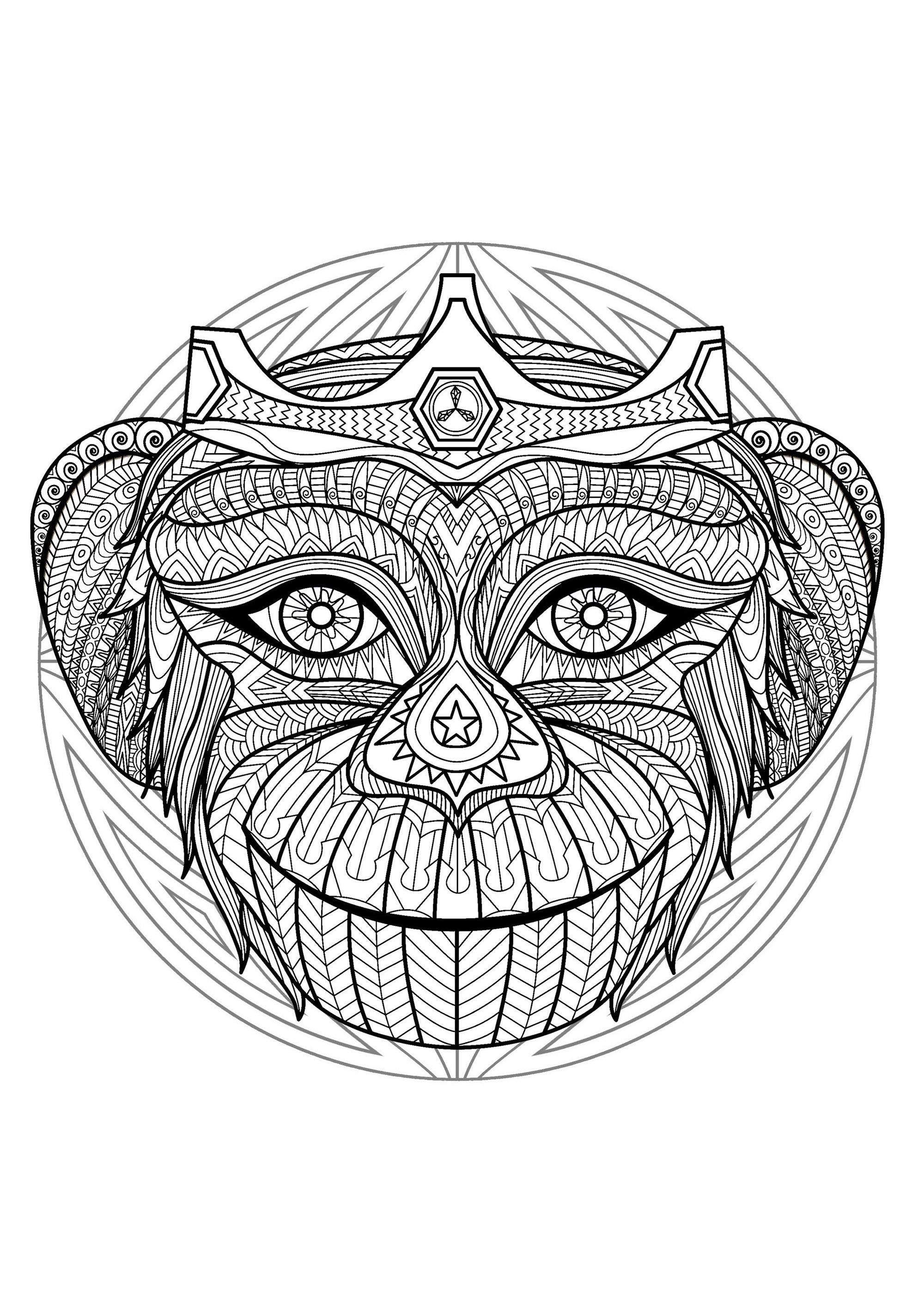 Mandala T 234 Te De Singe 2 Mandalas Difficiles Pour