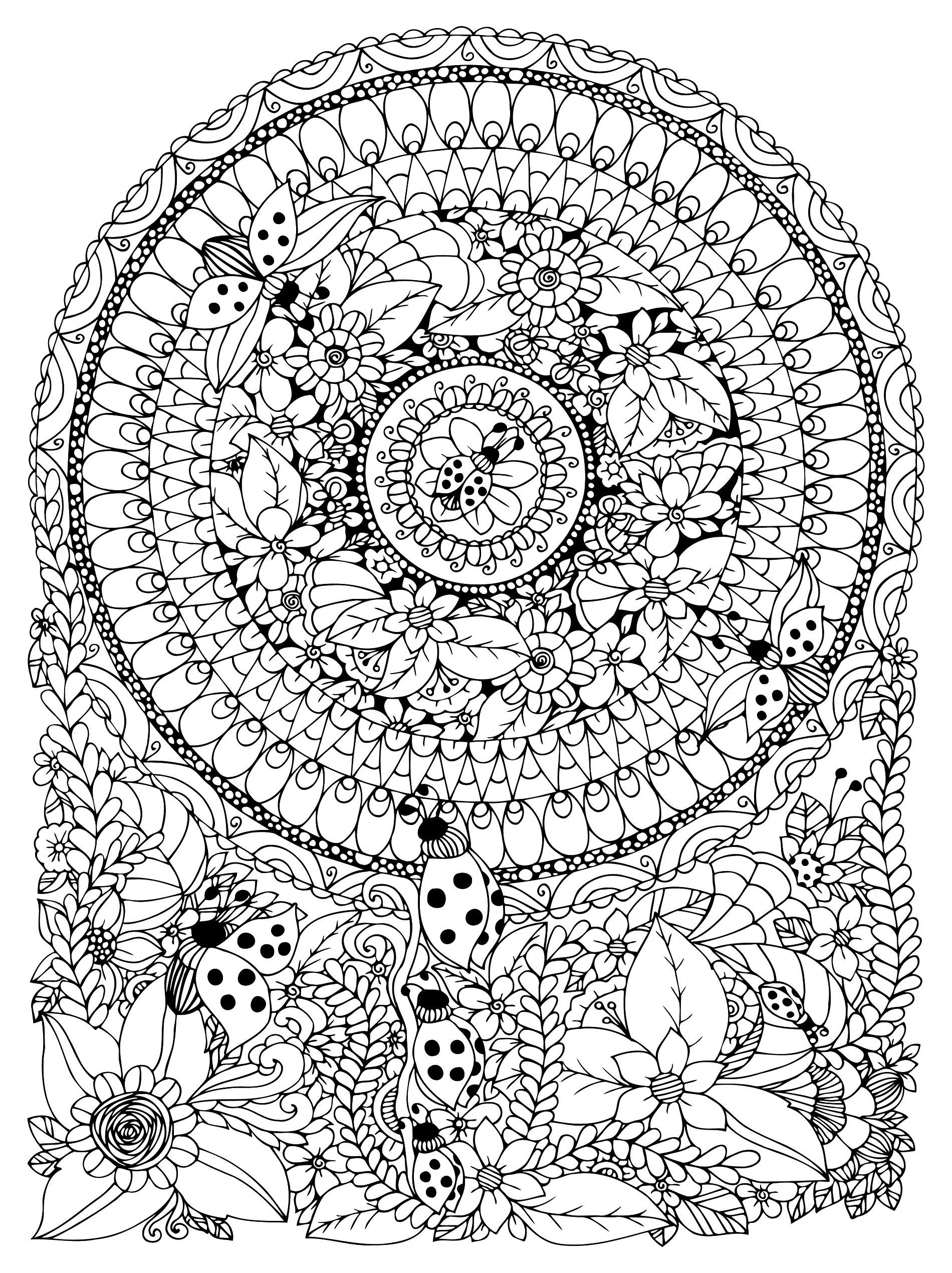 Mandala Fleurs Coccinelles Mandalas Difficiles Pour Adultes