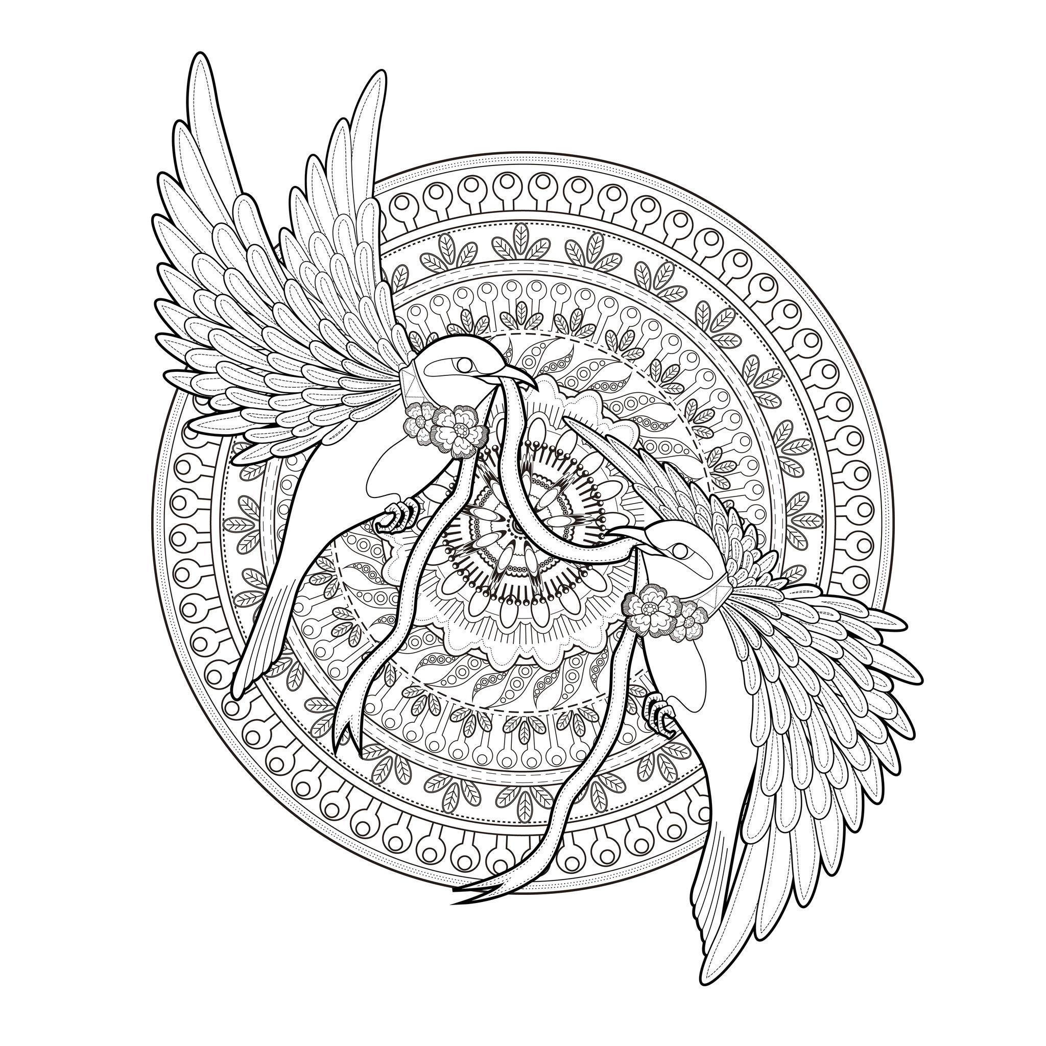 Mandala hirondelles et ruban mandalas difficiles pour - Coloriage mandala printemps ...