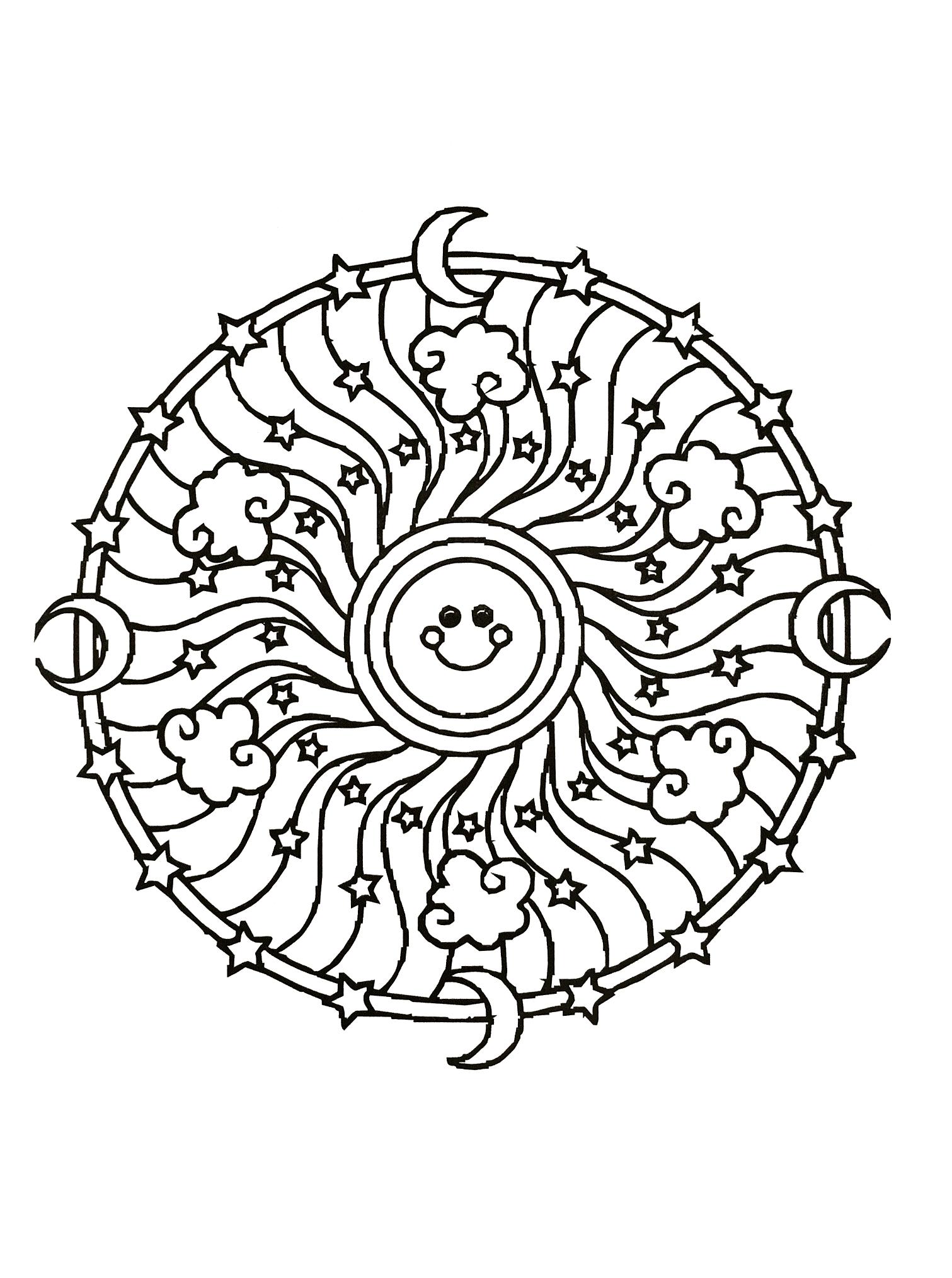 Coloriage Adulte Soleil.Mandala Soleil Mandalas Difficiles Pour Adultes 100 Mandalas